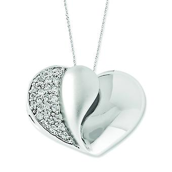 Sterling Silver Polished Gift Boxed Spring Ring Rhodium-plated Cubic Zirconia Glimpse Of My Heart 18inch Heart Necklace