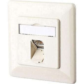 Network outlet Flush mount Insert with main panel and frame CAT 6A 1 port Metz Connect 130C371001-I Pearl white