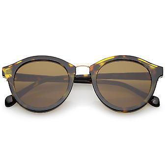 Classic Metal Nose Bridge Trim Flat Lens P3 Round Sunglasses 50mm