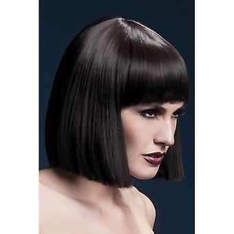 "Smiffy's Fever Lola Wig Brown, Blunt Cut Bob With Fringe (12"", 30cm)"