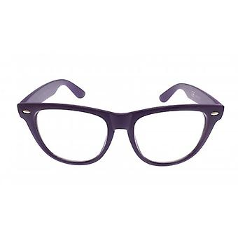 W.A.T Retro Purple Framed Clear Glass Geek Glasses