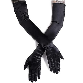 Fantasmogoria - CABARET EVENING SATIN GLOVES - Black