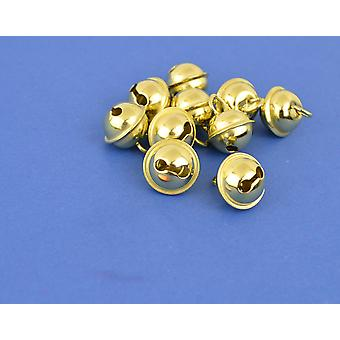 100 Gold 15mm Cat Bell Style Jingle Bells for Crafts