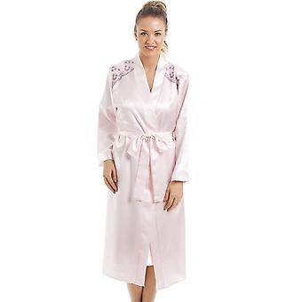 Camille luxe Chemise de Satin rose et Wrap Set
