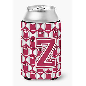 Letter Z Football Crimson, grey and white Can or Bottle Hugger