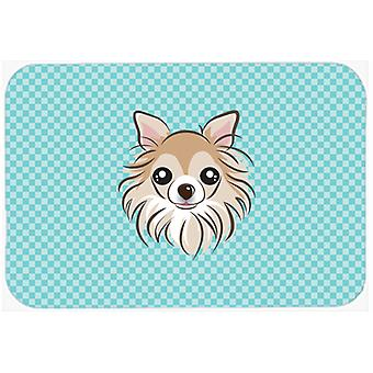 Checkerboard Blue Chihuahua Mouse Pad, Hot Pad or Trivet