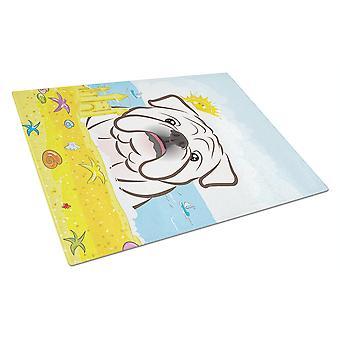 White English Bulldog  Summer Beach Glass Cutting Board Large