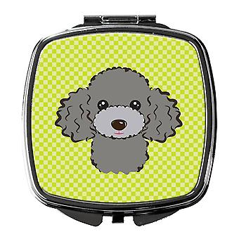 Checkerboard Lime Green Silver Gray Poodle Compact Mirror
