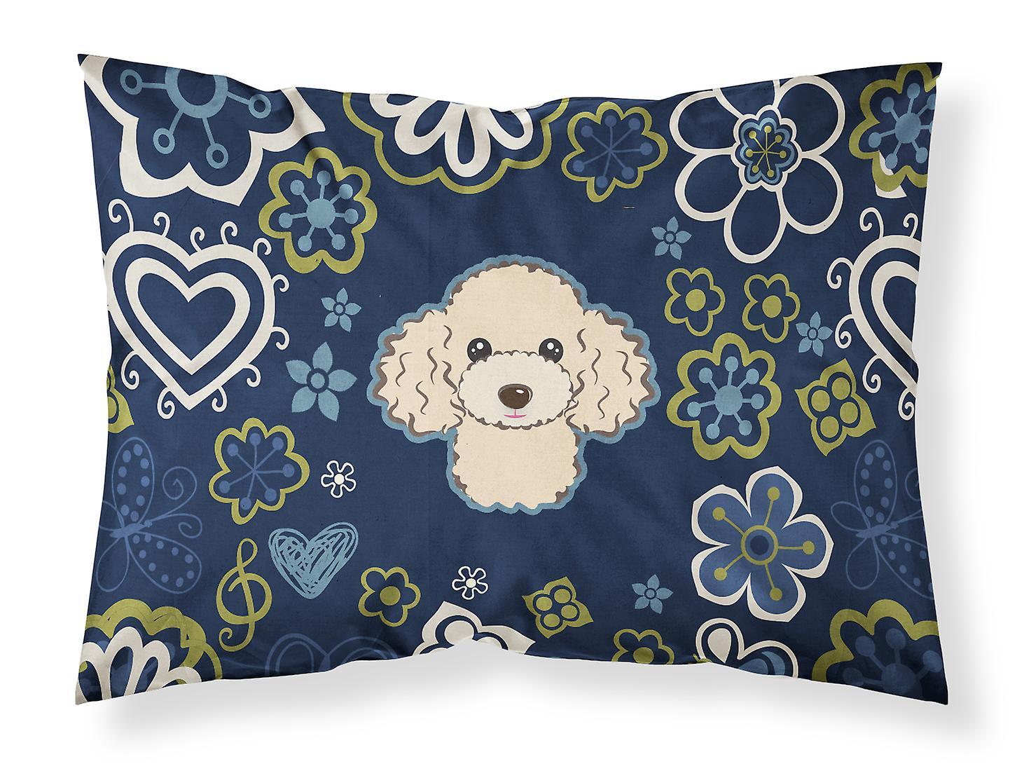 D'oreiller Caniche Standard Buff Taie Bleues Fleurs Tissu De 3j54RLA