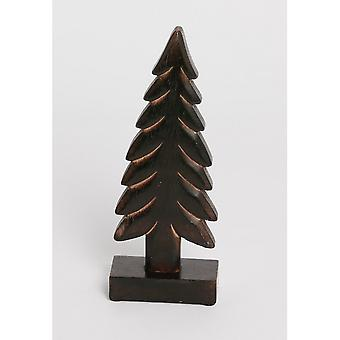 Dark Wooden Christmas Tree Ornament