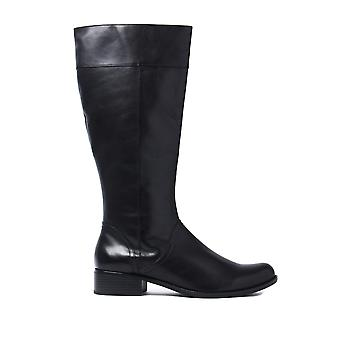 Women's Flat Knee High Nappa Boots - Black Leather
