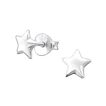 Star - 925 Sterling Silver Plain Ear Studs - W19236x