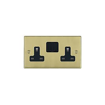 Hamilton Litestat Hartland Polished Brass 2g 13A DP Switched Socket BL/BL