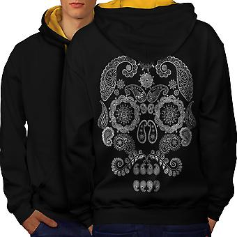 Face Of The Skull Men Black (Gold Hood)Contrast Hoodie Back | Wellcoda