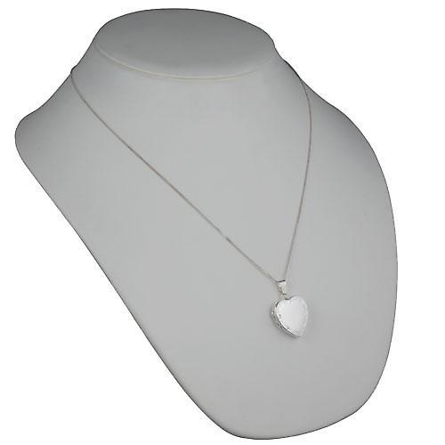 24x20mm argento inciso scorrimento bordo cuore medaglione con catena a mano