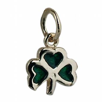 9ct Gold 9x9mm Shamrock with green cold cure enamel Pendant or  Charm