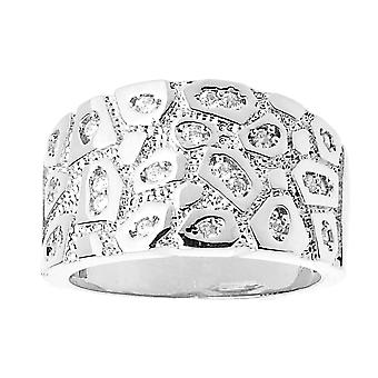 Iced out bling hip hop designer ring - silver NUGGET