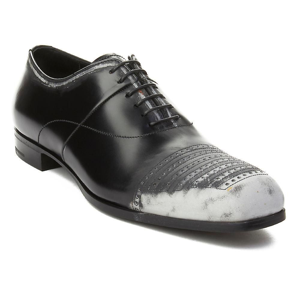 Prada Men's Leather Oxford Dress Shoes Black