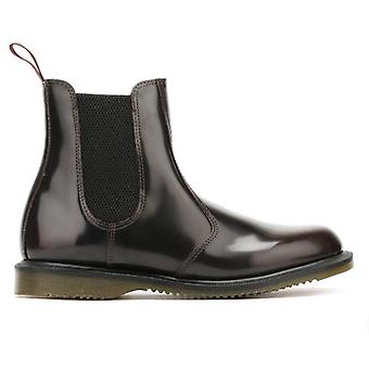 Dr. Martens Flora Womens Burgundy Classic Rub Off Leather Boots