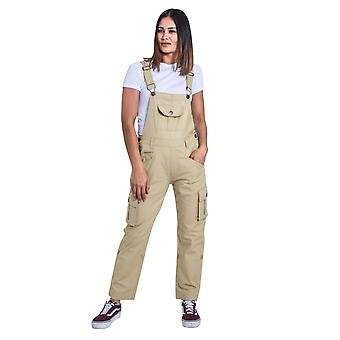 USKEES Womens Dungarees - Sand Relaxed fit Roll-up Leg Cotton Bib-overalls