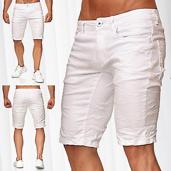Men's Bermuda Shorts Light Stretch Jeans Regular Capri Pants White Denim Summer