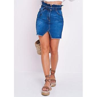 Denim Paperbag Belted Mini Skirt Blue
