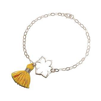 Gemshine - Damen - Armband - 925 Silber - Lotus Blume - Mandala - Quaste - Goldgelb - YOGA