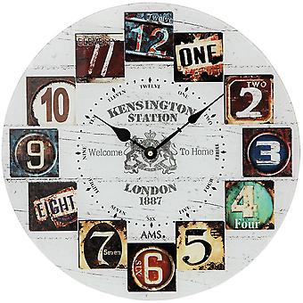 AMS 9470 wall clock quartz mineral glass printed with wood-look