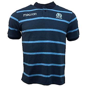 2018-2019 Skottland Macron Rugby stripen Poly Cotton Polo skjorte (blå)
