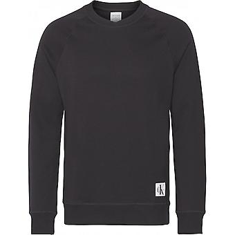 Calvin Klein Mens Monogram Crew Neck Track Top - Black