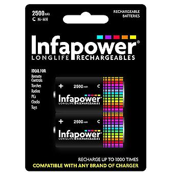 Infapower B005 Rechargeable C Ni-MH Batteries 2500mAh