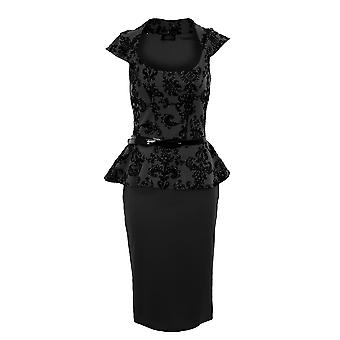 Ladies Belted Peplum Glitter Embossed Floral Pattern Bodycon Women's Dress
