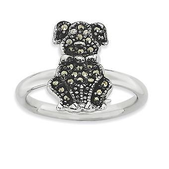2,25 mm argento lucidato placcato in rodio impilabile espressioni Marcasite cane anello - anello taglia: 5-10