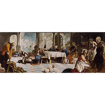 The Washing of the Feet,Jacopo Robusti Tintoretto,80x40cm