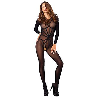 Opaque Long Sleeved Crotchless Bodystocking
