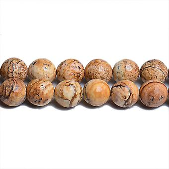 Strand 62+ Beige Picture Jasper 6mm Faceted Round Beads CB31114-2