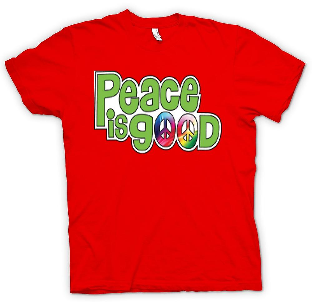 Mens T-shirt - Peace Is Good - Lettering