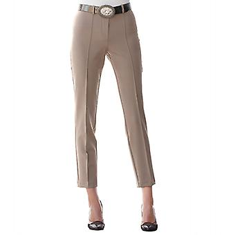 MONA comfortable women's pleated pants with bi-stretch fabric Brown