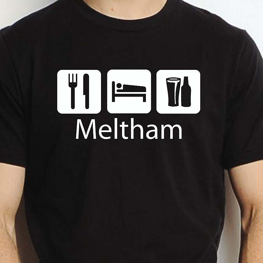 Eat Sleep Drink Meltham Black Hand Printed T shirt Meltham Town