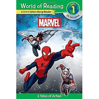 Wereld van de lezing: Marvel Marvel 3-In-1 Luister-langs Reader (wereld van lezen van niveau 1): 3 verhalen van avontuur met...