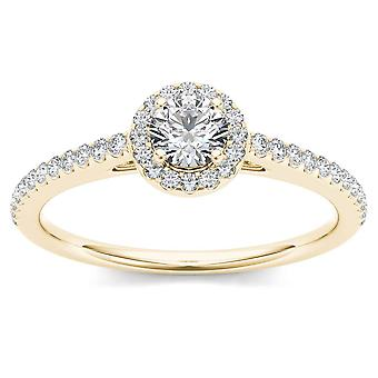 IGI Certified 14k Yellow Gold 0.50 Ct Natural Diamond Halo Engagement Ring