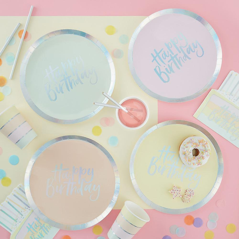 Pastel Party Foiled Happy Birthday Paper Plates x 8