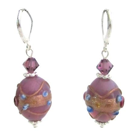 Chic Girls Purple Lampwork Beads & Swarovski Crystals Fancy Earrings