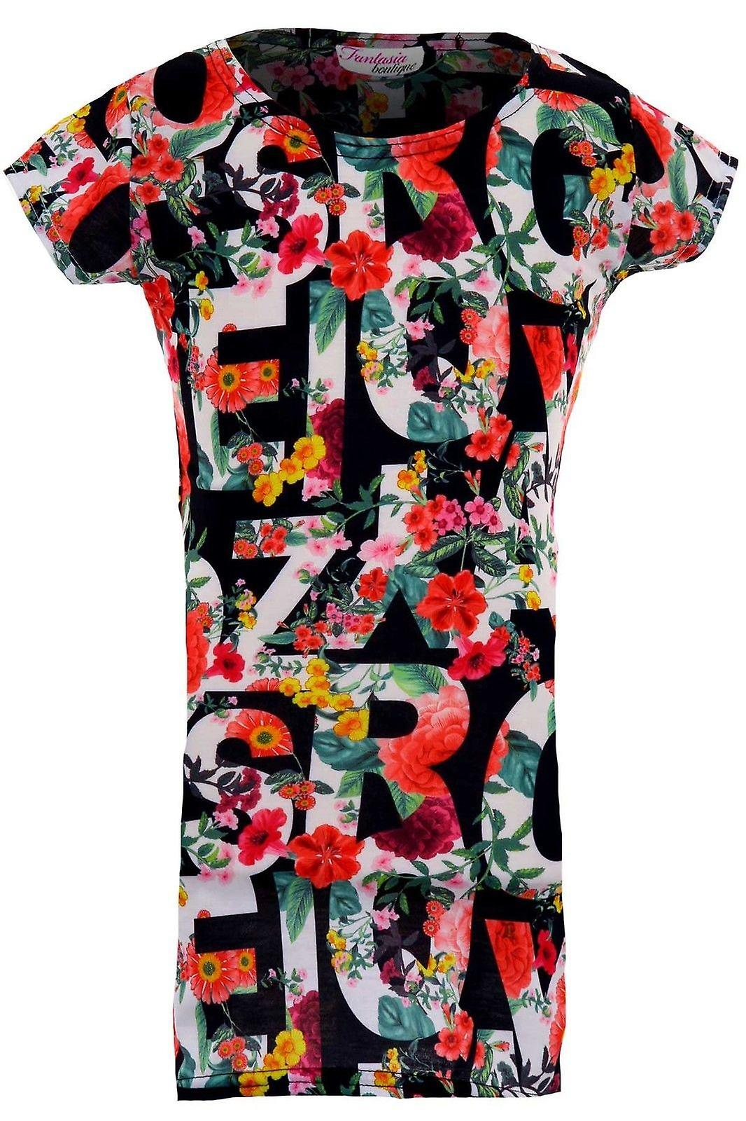 Children's Cap Sleeve Multicolour Floral Alphabet Letter Girls Party Bodycon Dress