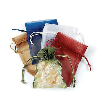 12 Assorted Medium Drawstring Organza Favour Gift Bags