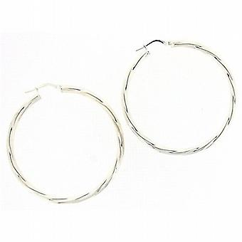 Toc Sterling Silver Large Twisted 45mm Creole Hoop Earrings