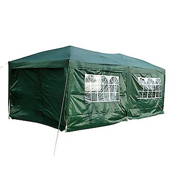Outsunny 6m x 3(m) Garden Heavy Duty Water Resistant Pop Up Gazebo Marquee Party Tent Wedding Canopy Awning Green With Storage Bag