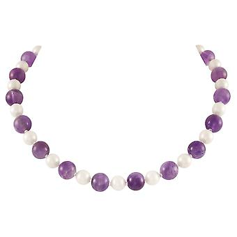 Eternal Collection Duet Amethyst And Shell Pearl Silver Tone Necklace