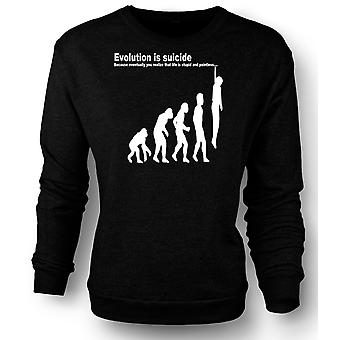 Womens Sweatshirt evolusjon er selvmord - morsomt