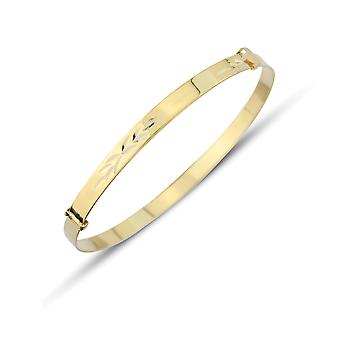 Jewelco London 9ct Yellow Gold - 3mm Modello Espandibile Bambino Bangle Bracciale - 42mm-54mm
